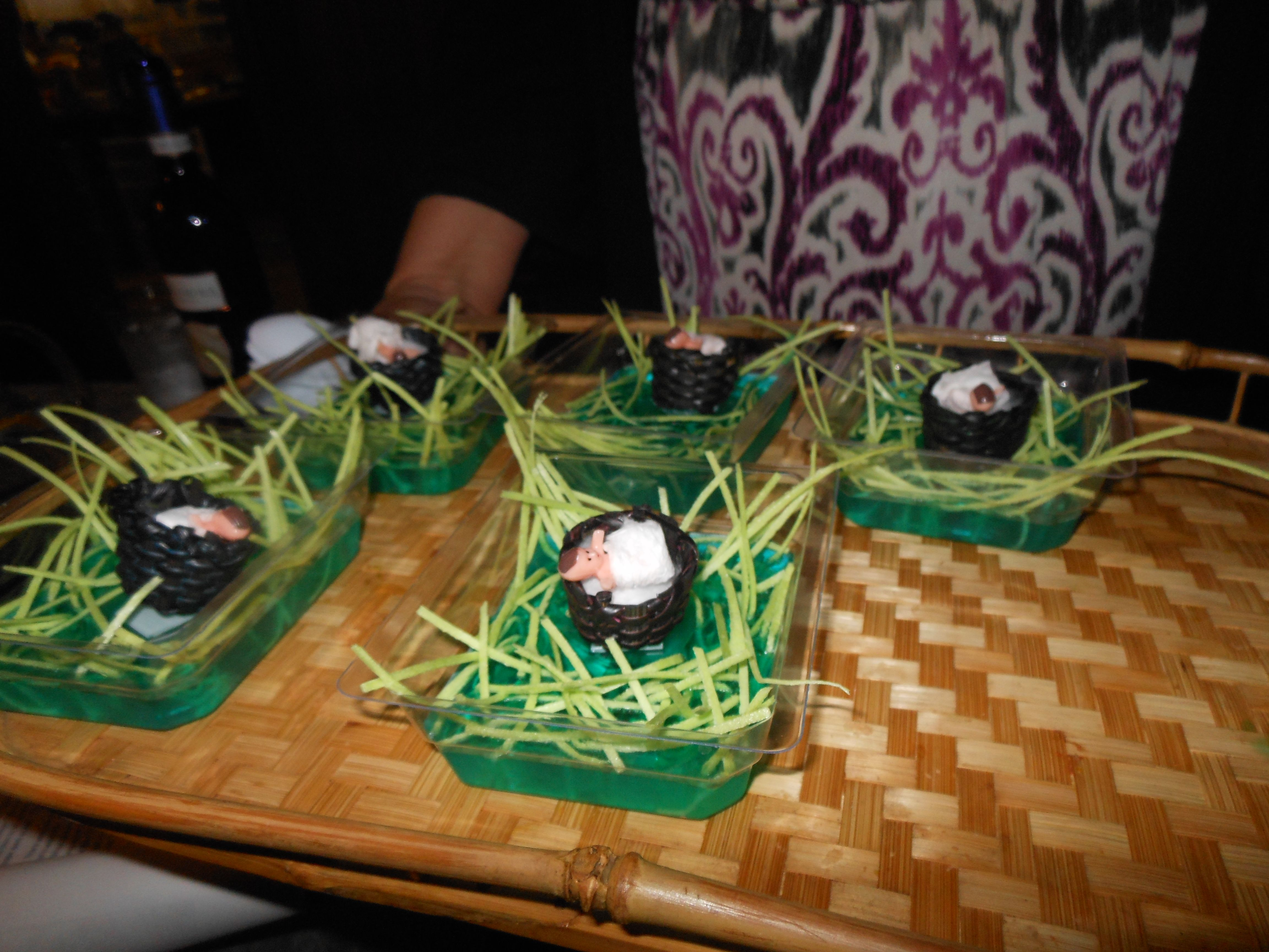 Baby Moses snacks. Blue gelatin, edible candy grass in clear dishes ...