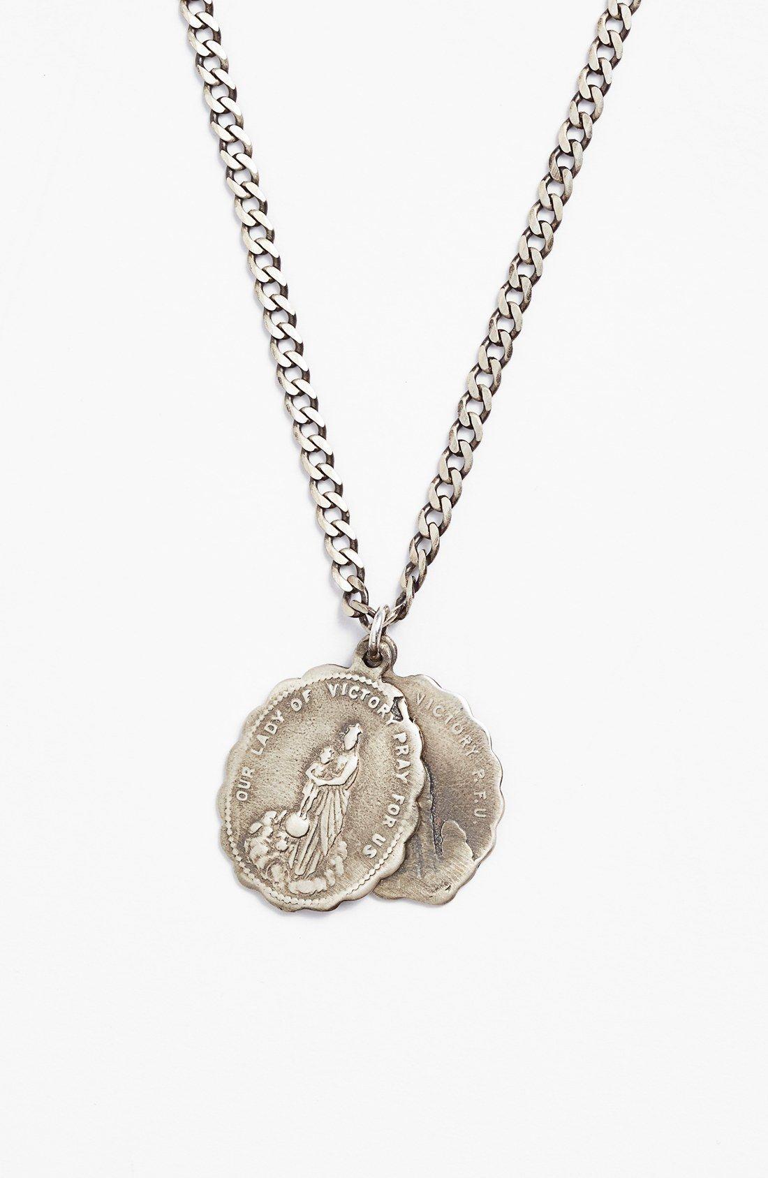 Saints Pendant Necklace Mens Silver Necklace Pendant Necklace Saint Necklace