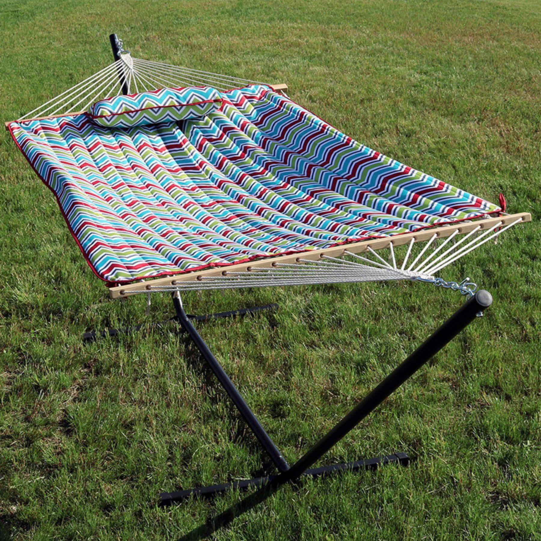 Sunnydaze decor chevron ft rope hammock with steel stand dl