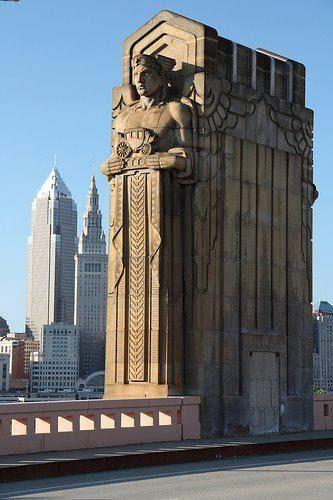 tremblingcolors:Art Deco bridge  in Cleveland, USA