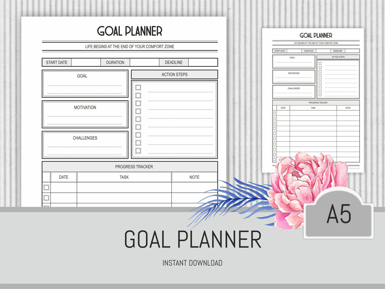 goal planner printable pdf personal agenda goal progress tracker