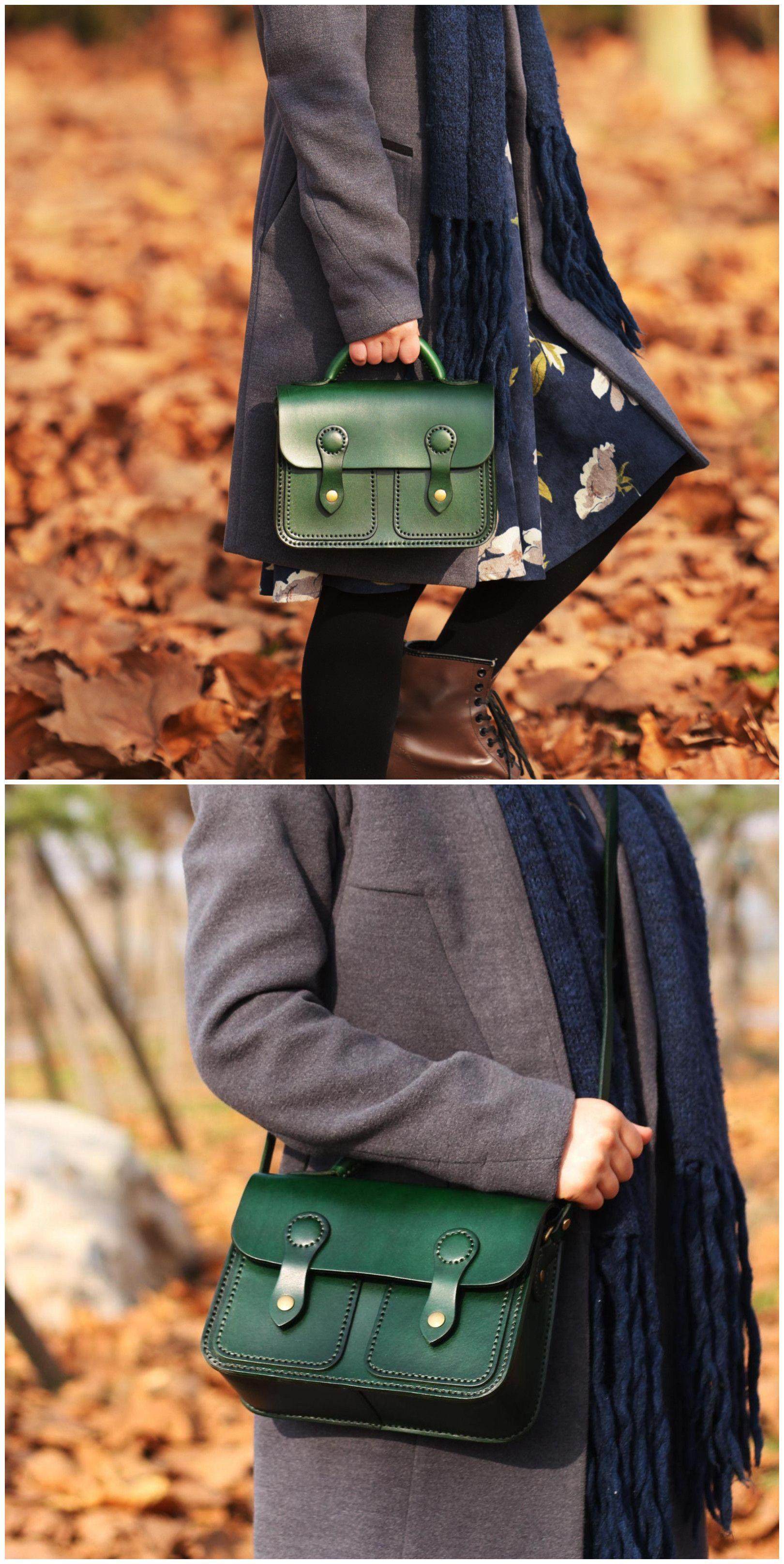 Leather Crossbody  Handbag  Shoulder Bag  Handstitched Tan Satchel
