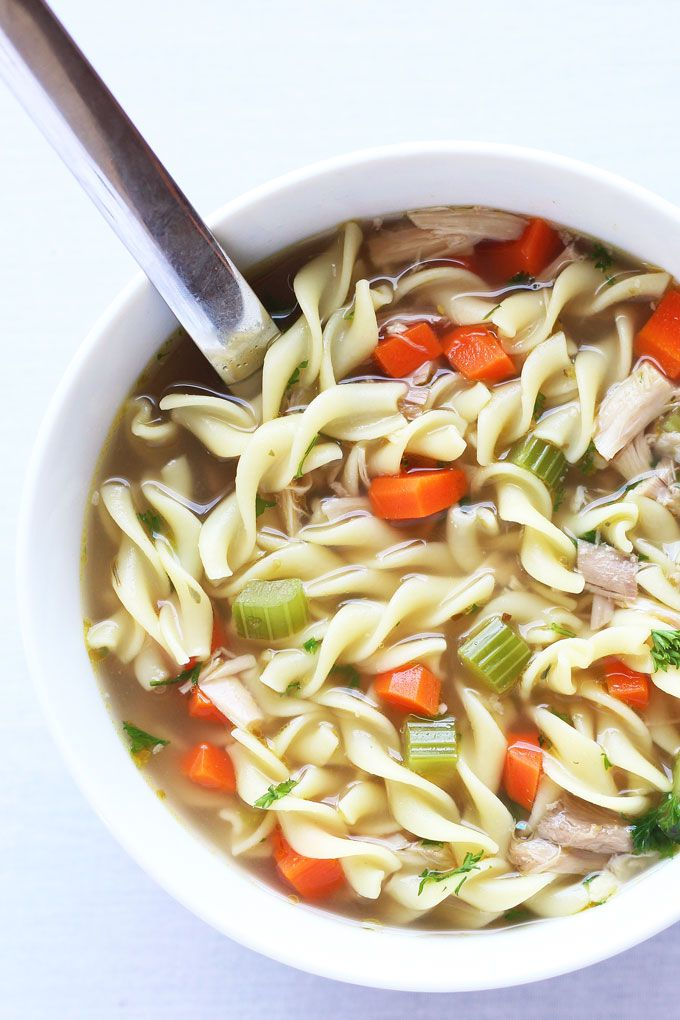 homemade chicken noodle soup made with homemade slow