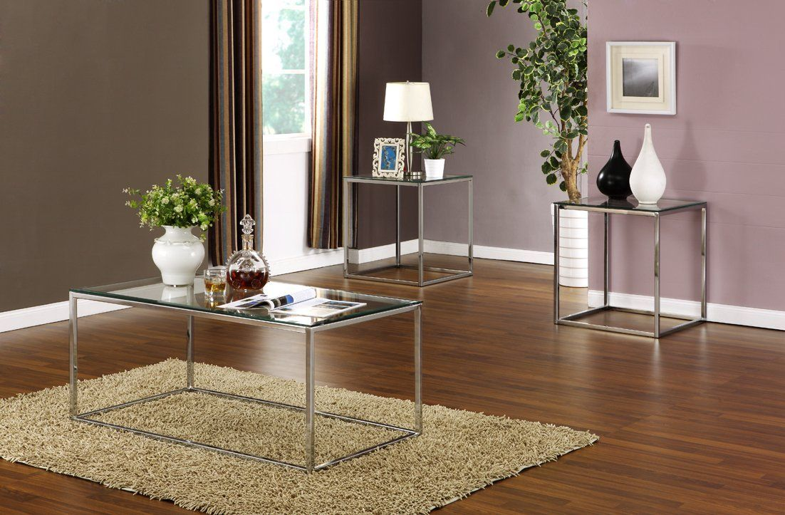 Amazon Com 3 Pc Kings Brand Chrome With Glass Top Coffee Table 2 End Tables Occasional Table Set Coffee Table 3 Piece Coffee Table Set Coffee Table Setting [ 723 x 1102 Pixel ]