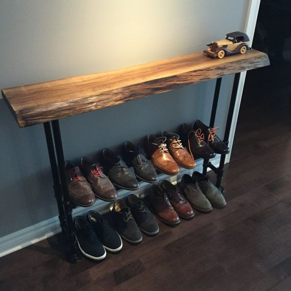Live Edge Walnut Entry Table With Shoe Storage Entryway Tables