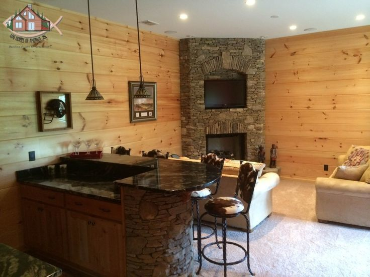 Great Basement Entertaining Space With Gas Fireplace Television And Gorgeous Bar Design Bar And Log Home Floor Plans Basement Living Rooms Cottage Furniture