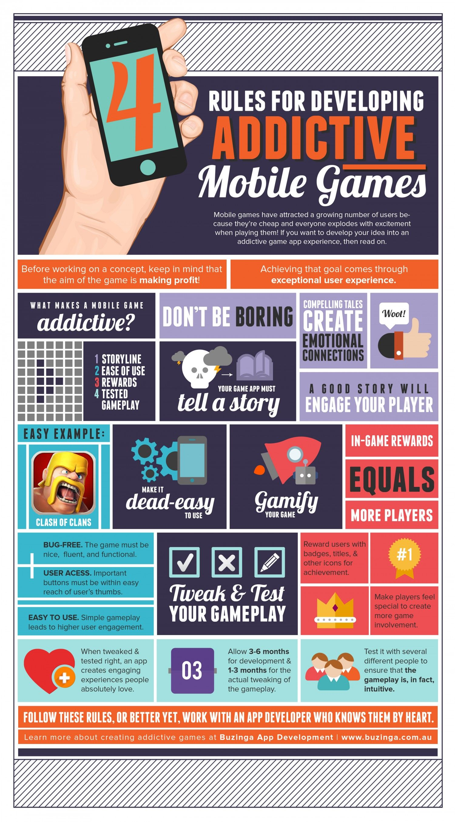 Rules For Developing Addictive Mobile Games Infographic