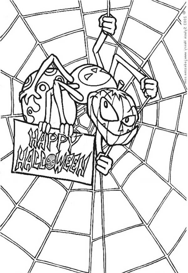 Scary Spider With Spider Web Coloring Page : Color Luna in ...
