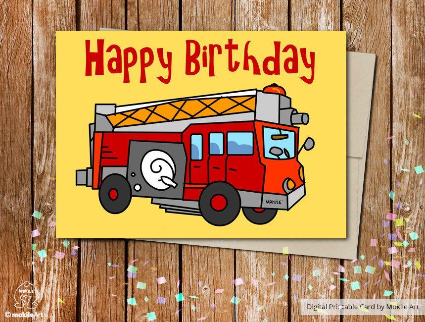 Fire Truck Birthday Card Printable Birthday Cards Fire Car Card