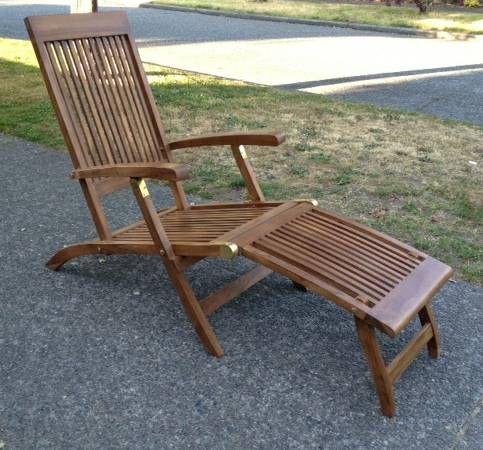 Tremendous Teak Patio Chaise Lounge Chair Steamer Deck Chairs 175 Theyellowbook Wood Chair Design Ideas Theyellowbookinfo