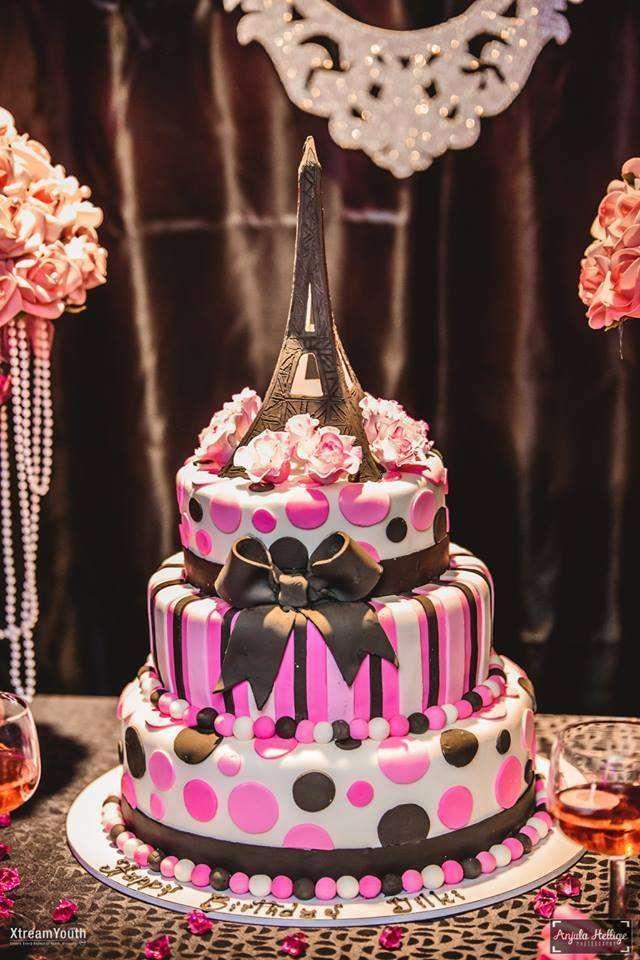 Eiffel Tower Birthday Party Ideas White birthday cakes Birthday