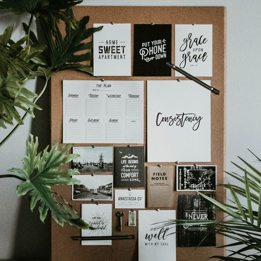 power word ideas with printables and getting consistent on inspiring workspace with a cork wall creating a custom cork board for your home id=65942