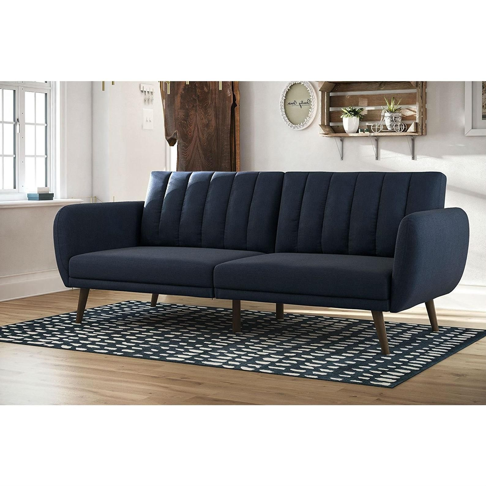 Admirable Modern Navy Blue Linen Upholstered Sofa Bed Futon With Gmtry Best Dining Table And Chair Ideas Images Gmtryco