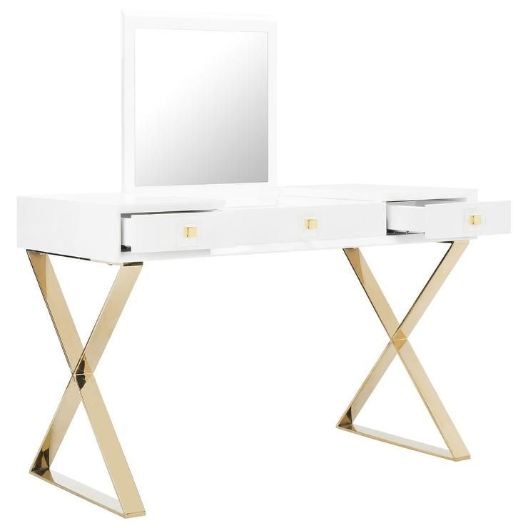sports shoes 277e5 dd97f Yesenia White Gold Mirror Vanity Table | tables in 2019 ...