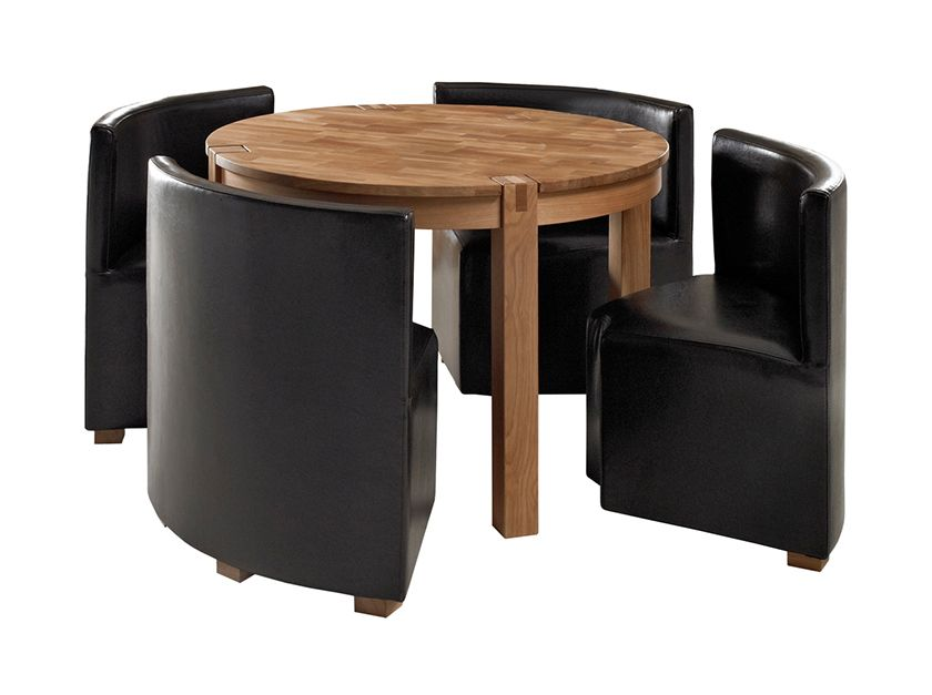 Small dining room design ideas with rounded wood dining for Small black dining table set