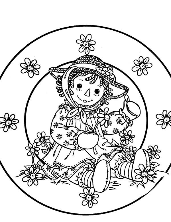 Raggedy Ann Collect Flower in Raggedy Ann and Andy Coloring Page ...