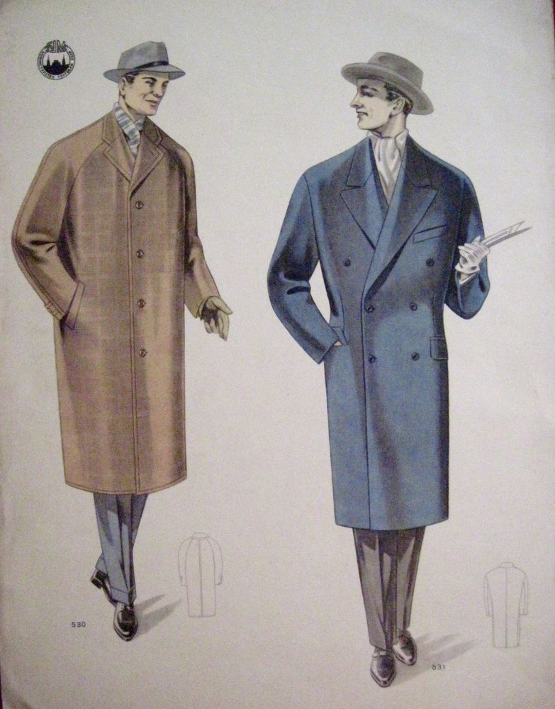 Vintage Russian Print of Men's Fashion Overcoats - One Brown & One Blue