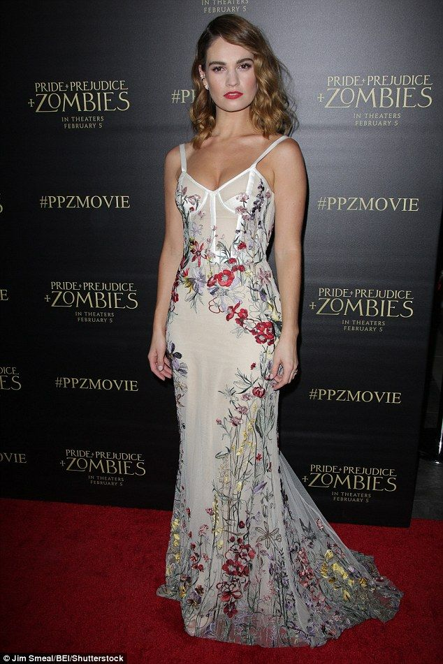 Lily James In Alexander Mcqueen Resort 2016 Attended The Premiere Of Pride And Prejudice Zombies Los Angeles On January 21