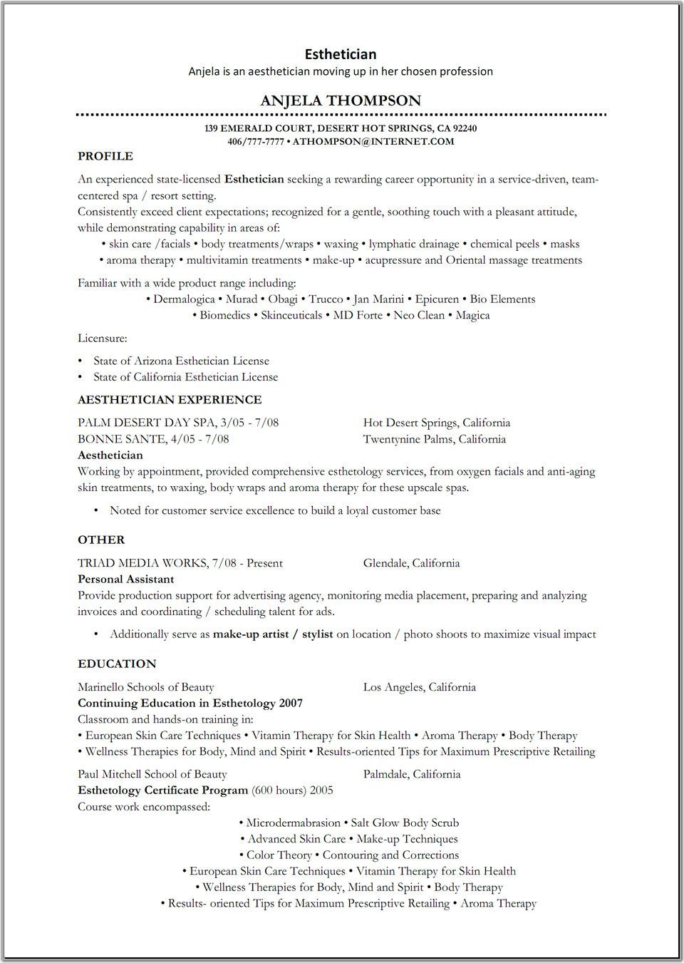 Resume Examples Me Nbspthis Website Is For Sale Nbspresume Examples Resources And Information Cover Letter For Resume Esthetician Resume Resume Examples