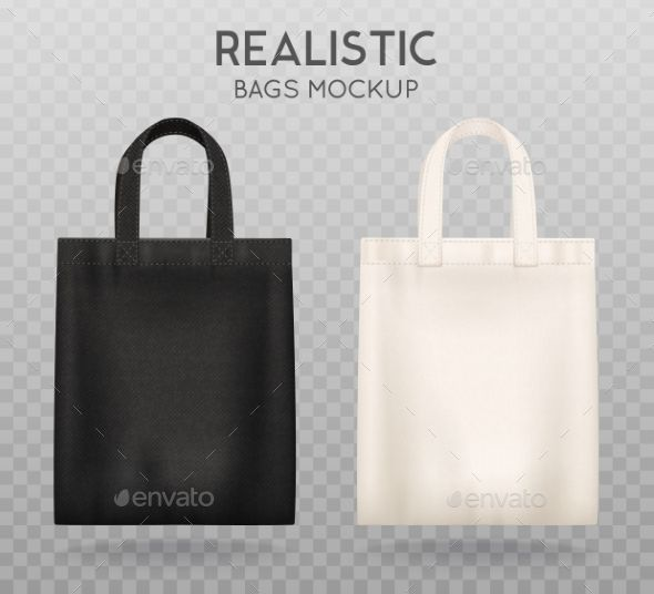 Download Black And White Tote Shopping Bags Realistic Corporate Identity Mock Up Items Template Transparent Backgrou Black And White Tote Bags White Tote Bag White Tote