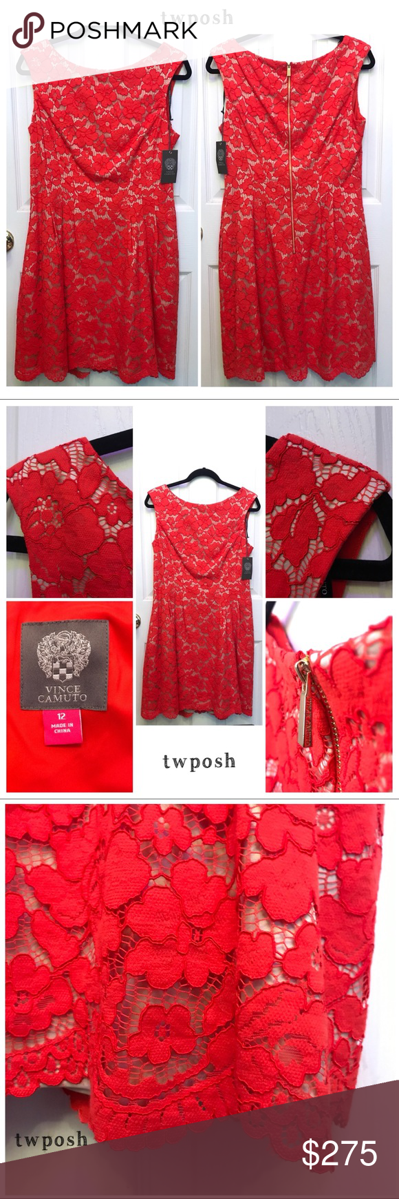 Vince Camuto Red Lace A Line Dress Nwt Lace A Line Dress A Line Dress Lace Aline Dress [ 1740 x 580 Pixel ]