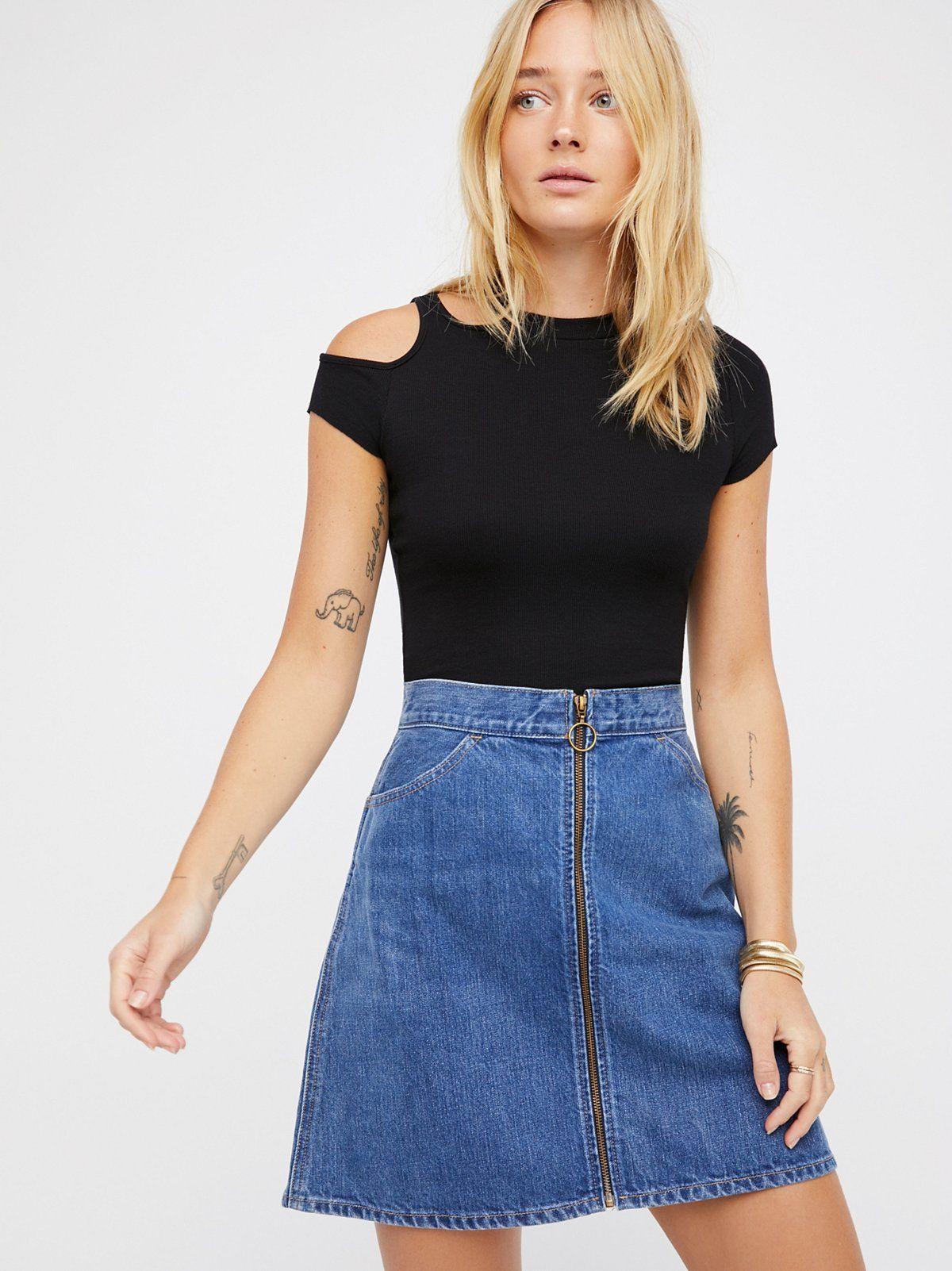 0d97c356ef Orange Tab Denim Skirt | Retro-inspired denim mini skirt featured in a high  waist. * Authentic, non-stretch denim * Exposed zipper front closure with a  ...