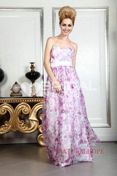 Natural Hope Series A-line Sweetheart Floor Length Satin Printed Ciffon Prom Dress 2013 [#BL26731] - Bridalinlove.com