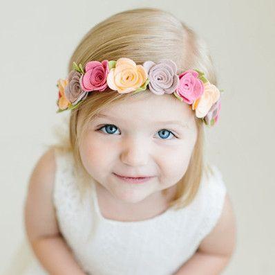 White felt flower headband newborn flower headband girls white headband baby flower headband white headband