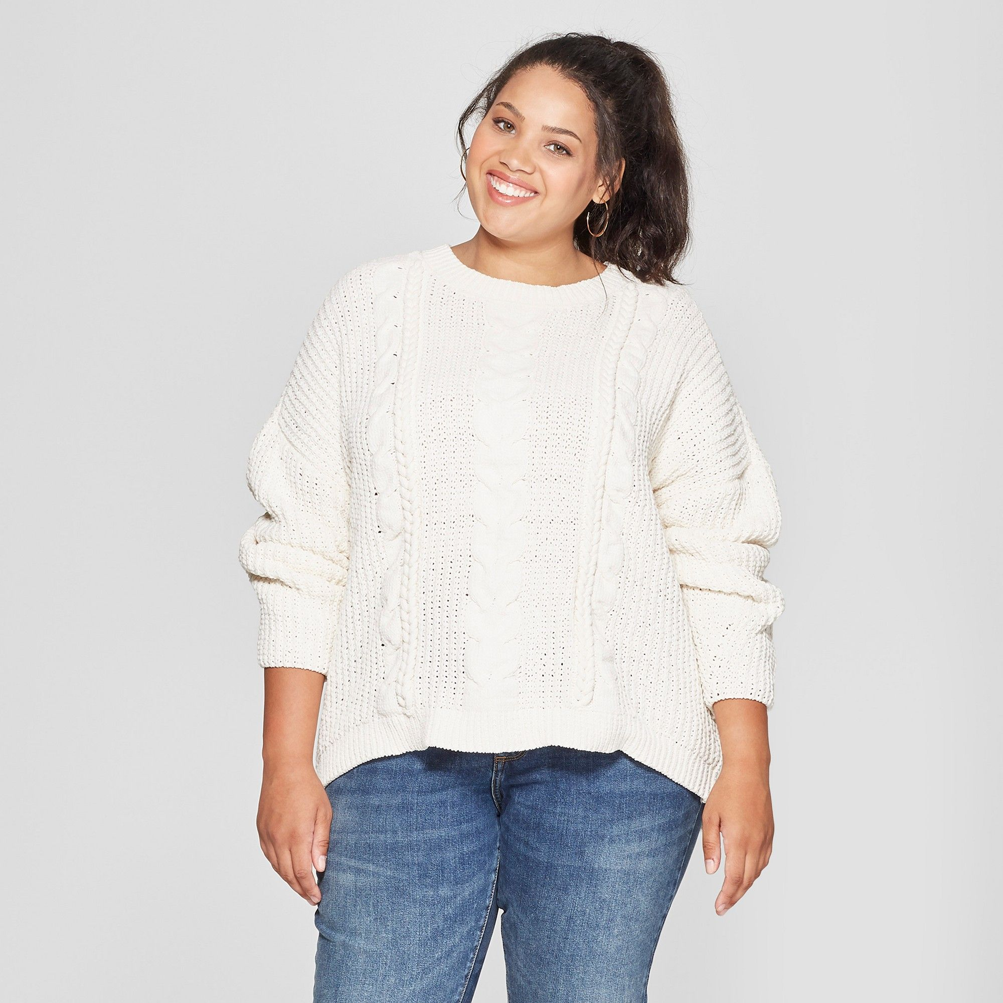16c112024ce Women s Plus Size Chenille Cable Pullover Sweater - Universal Thread Cream  (Ivory) 3X