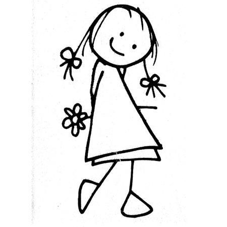 Tampon bois - Fille & fleur - 5 x 2,6 cm
