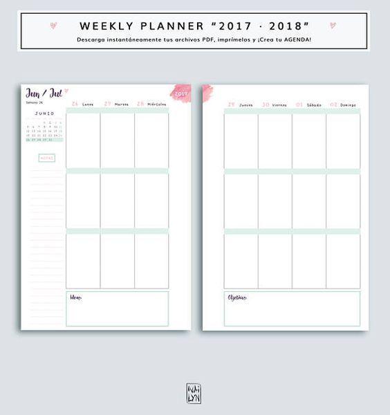 Agenda para imprimir de 2017 2018 wo2p planificador de - Agenda imprimible 2017 ...
