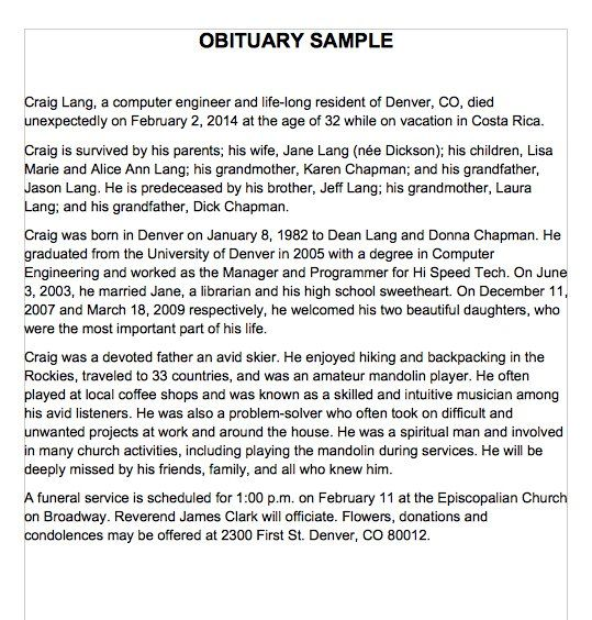 Obituary Templates And Samples  Template Lab  Science