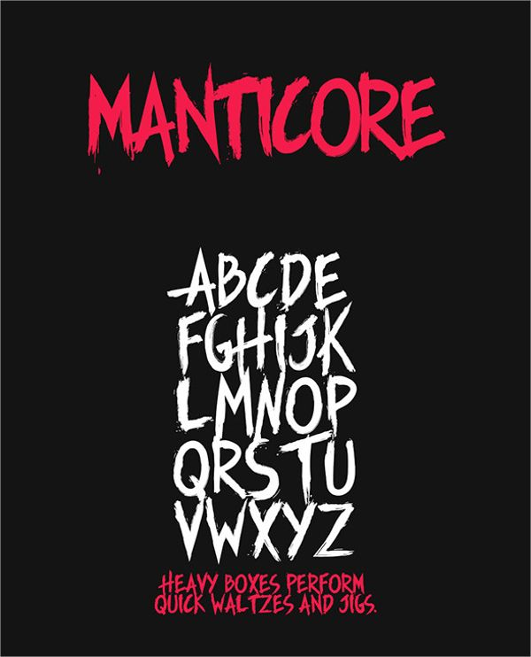 Manticore Typeface Horror Font | Fonts | Horror font, Fonts, Type design