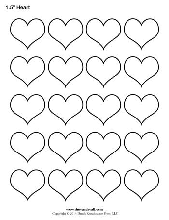 Heart Template 1 5 Inch Heart Template Heart Shapes Template