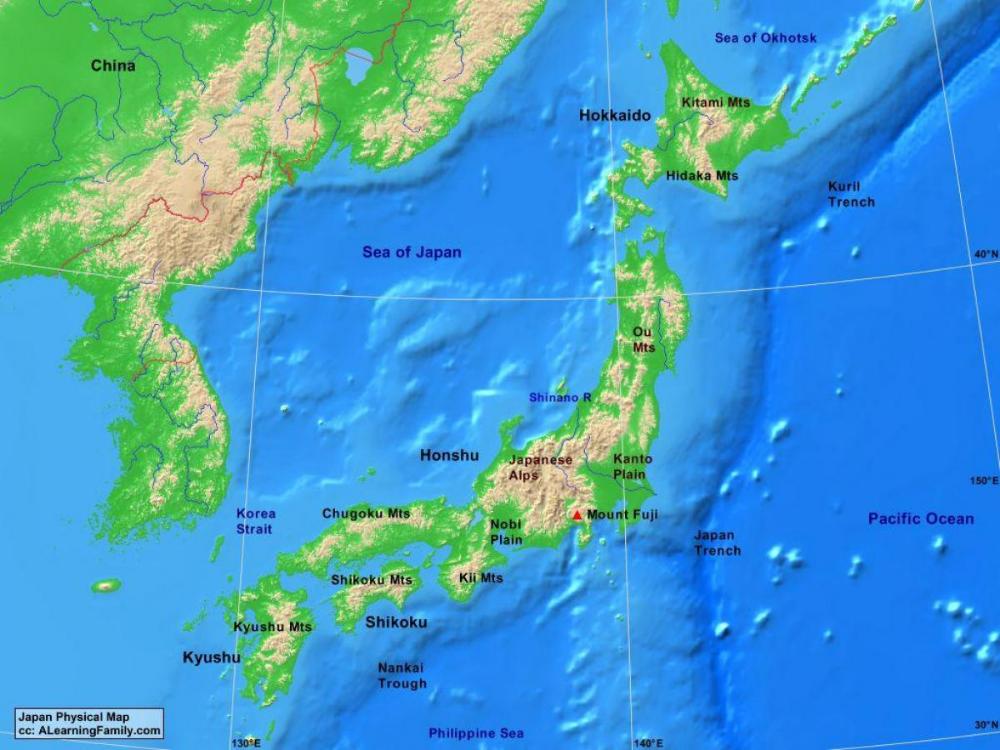 Il Giappone Cartina Fisica.Carta Fisica Del Giappone Cerca Con Google Giappone Fisico Carta