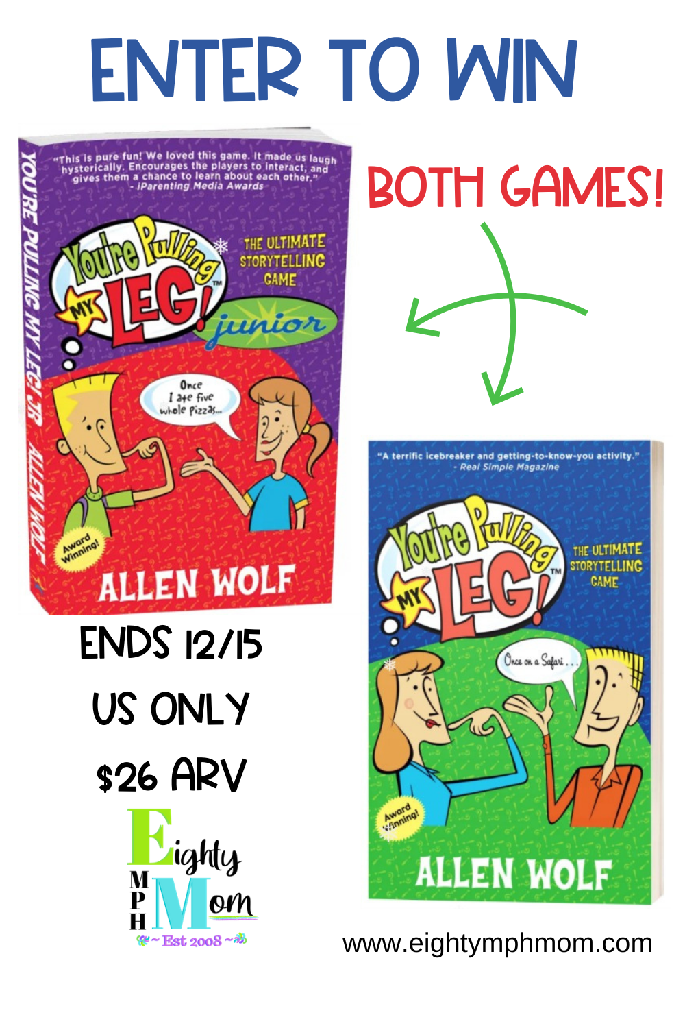 Enter To Win Both Games You Re Pulling My Leg And You Re Pulling My Leg Junior Edition These Are Fun To Play In Tween Gifts Family Games Game Giveaway