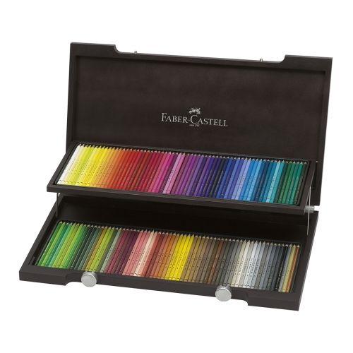 coffret bois 120 crayons de couleur polychromos - faber castell