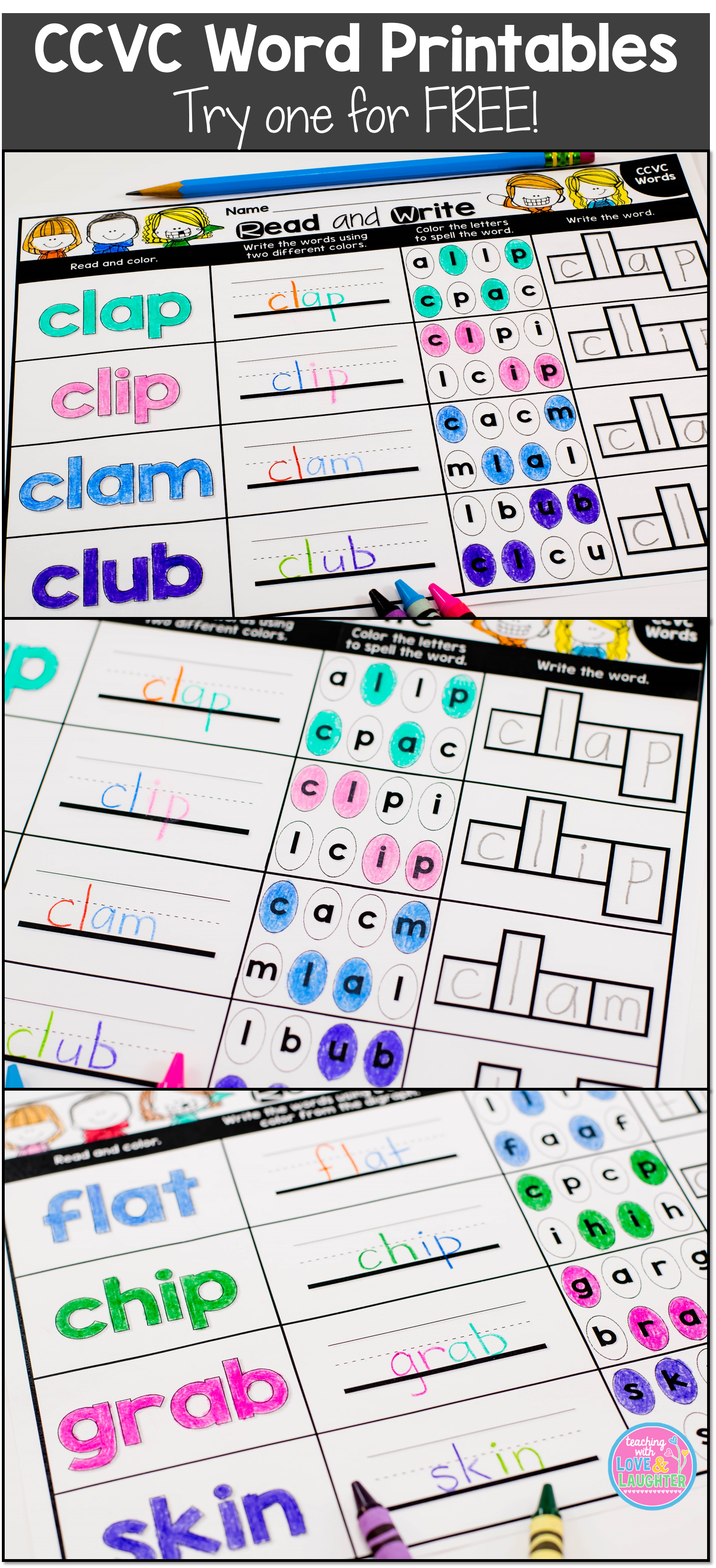 These 65 Activity Sheets Will Help Your Students Practice Reading And Writing Ccvc Words Each