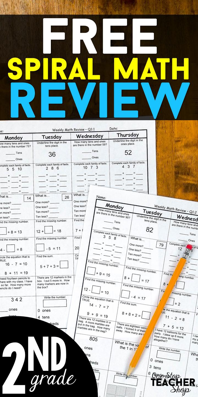 2nd Grade Math Spiral Review   2 Weeks FREE   2nd grade math. Spiral math