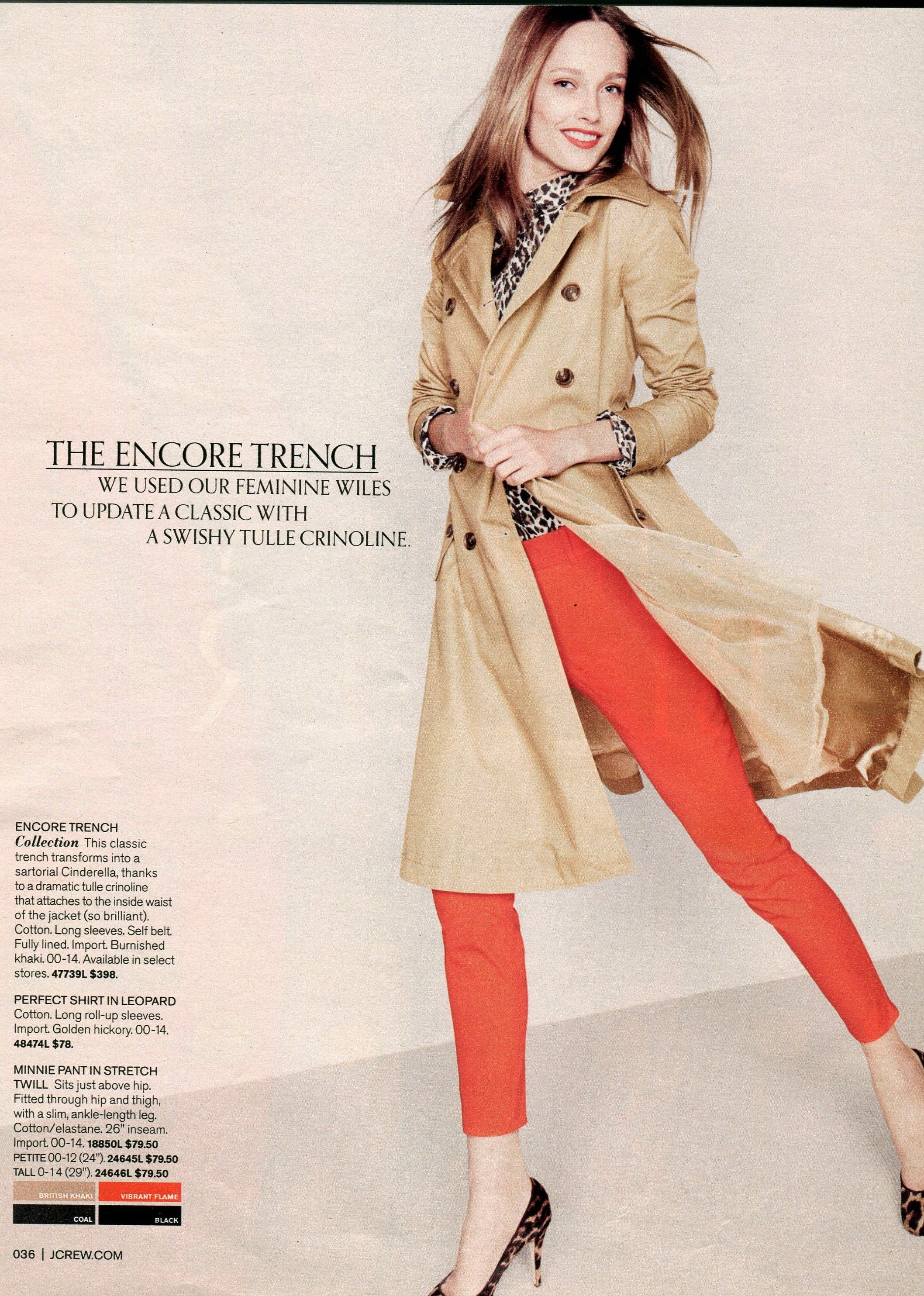 02cb363727ff J.Crew - Love color combo! Leopard shirt, red pants, camel trench ...