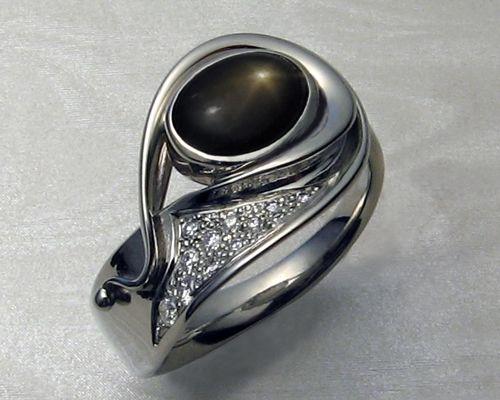 Fluid Organic Freeform Ladies Ring With Black Star Sapphire Gents Wedding Rings Custom Engagement Rings Unique Women Rings