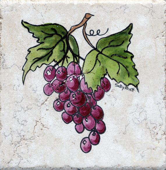"""2017 Wall Art Fruit Grape Red Wine Glass Picture Art For: Tile Red Grape Cluster 6"""" X6"""" Sally Rhett Handpainted"""