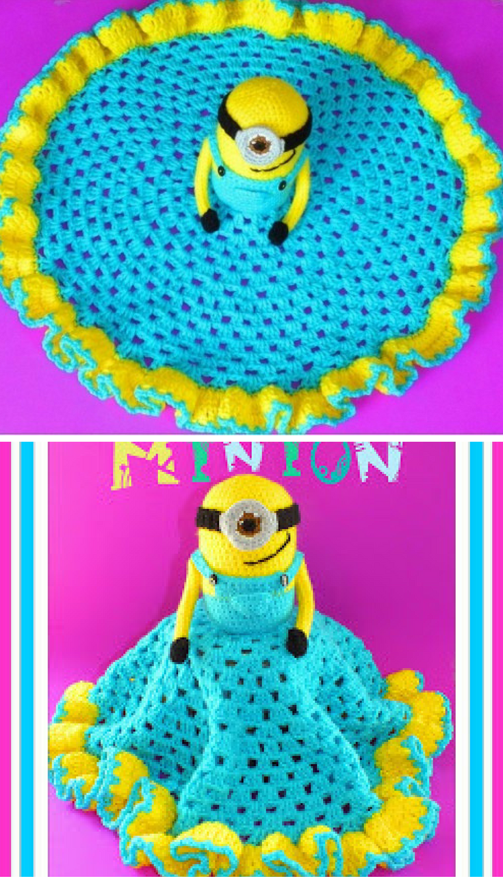 [Free Crochet Pattern] Absolutely Adorable Minion Lovey Crochet Blanket #minioncrochetpatterns [Free Crochet Pattern] Absolutely Adorable Minion Lovey Crochet Blanket #minioncrochetpatterns