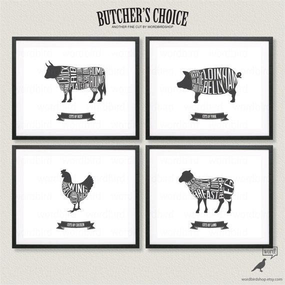 fc98d0e69a75f4ac2485e6c60b87c510 butcher chart set, beef, pork, chicken and lamb butcher charts in