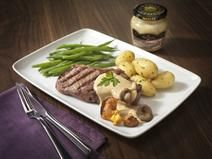 Recette :Steak with Wild Mushroom and Pepper Sauce