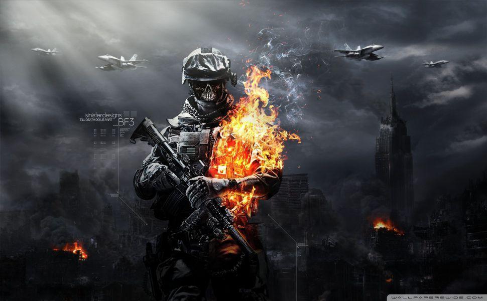 Cool Battlefield 4 Fire Armor In Black Background: Counter Strike 1.6 Lh 2012 HD Wallpaper