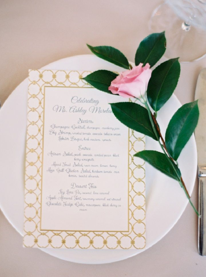 Wedding menu card in gold and white | itakeyou.co.uk