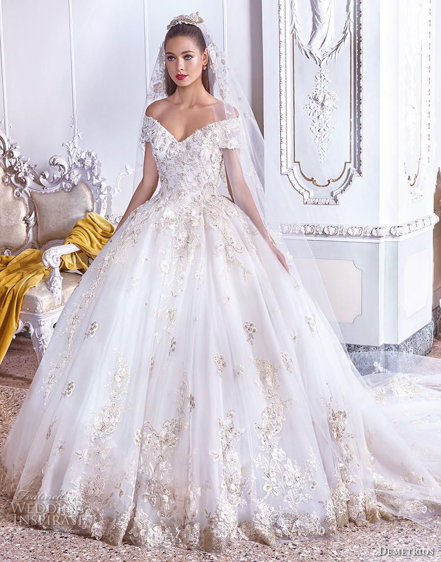 8240ad4abf3 demetrios 2019 bridal off the shoulder v neck heavily embellished bodice hem  gltizy princess ball gown a line wedding dress royal train (13) mv