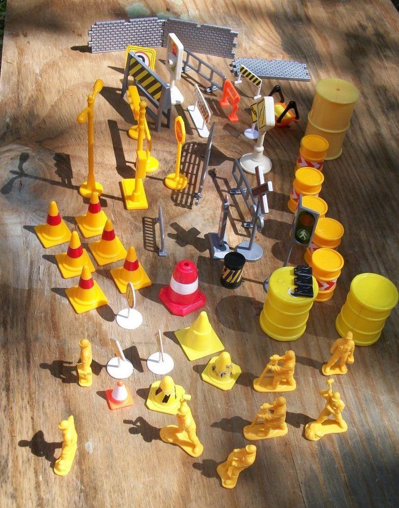 HUGE Plastic construction Signs Cones Railroad Crossing Toys City ...