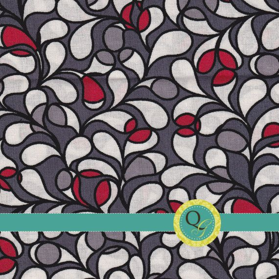 Designer Fabric By the Yard Black Red Gray and White Geometric Petal Scroll Print Modern Bold Fabric Design. @robin I saw this fabric at Hobby Lobby and thought it was cool!
